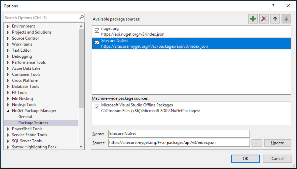 NuGet Package Manager Package Sources